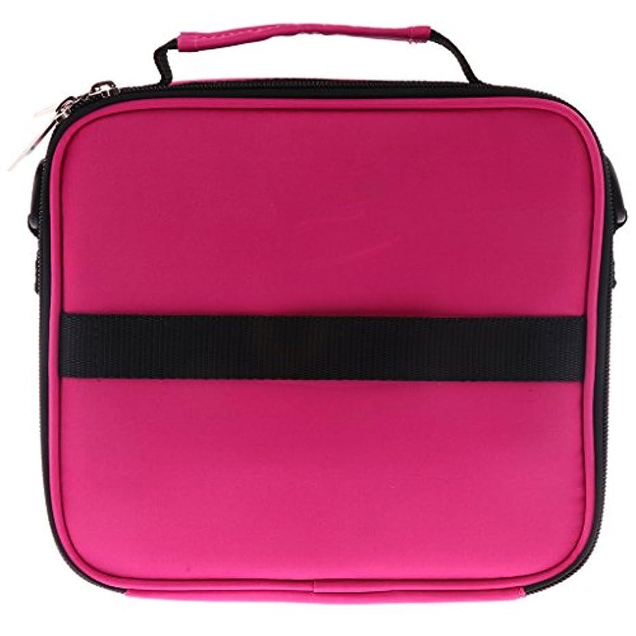 Hellery 全6色 アロマポーチ エッセンシャルオイル ケース 香水収納バッグ アロマケース 携帯用 30本用 - ローズレッド