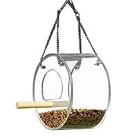 バードフィーダー、シースルー、強力な吸引カップ付きの庭と屋外の最高の のための大型の鳥の餌箱