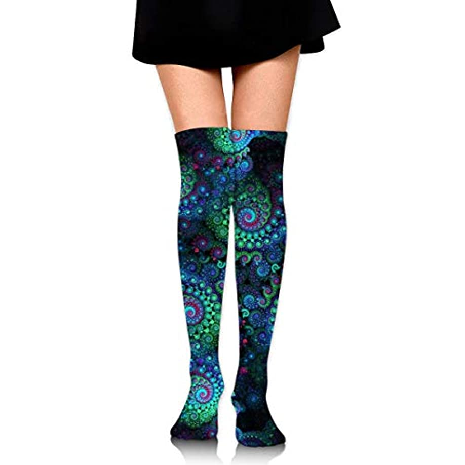 ドレス回転悲惨なMKLOS 通気性 圧縮ソックス Breathable Thigh High Socks Over Exotic Psychedelic Print Compression High Tube Thigh Boot Stockings...