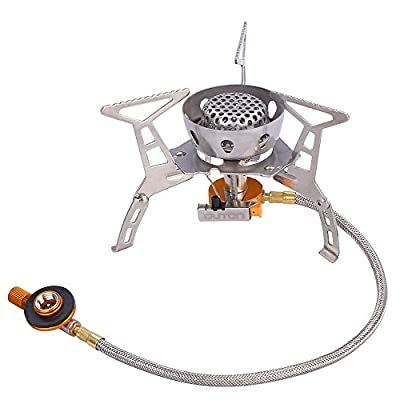 Mini Outdoor Stoves Camping Stove Foldable Gas Burner Stainless Steel Cooking Burners Picnic Camping Equipment Lightweight Backpacking Gas Stove with Carring Case Portable Camping Stove 3000W