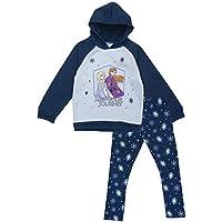 Happy Threads Disney Frozen Toddler Baby Girls 2 PC Trust Your Journey Fleece Hoodie and Legging Set Navy/Sky Blue