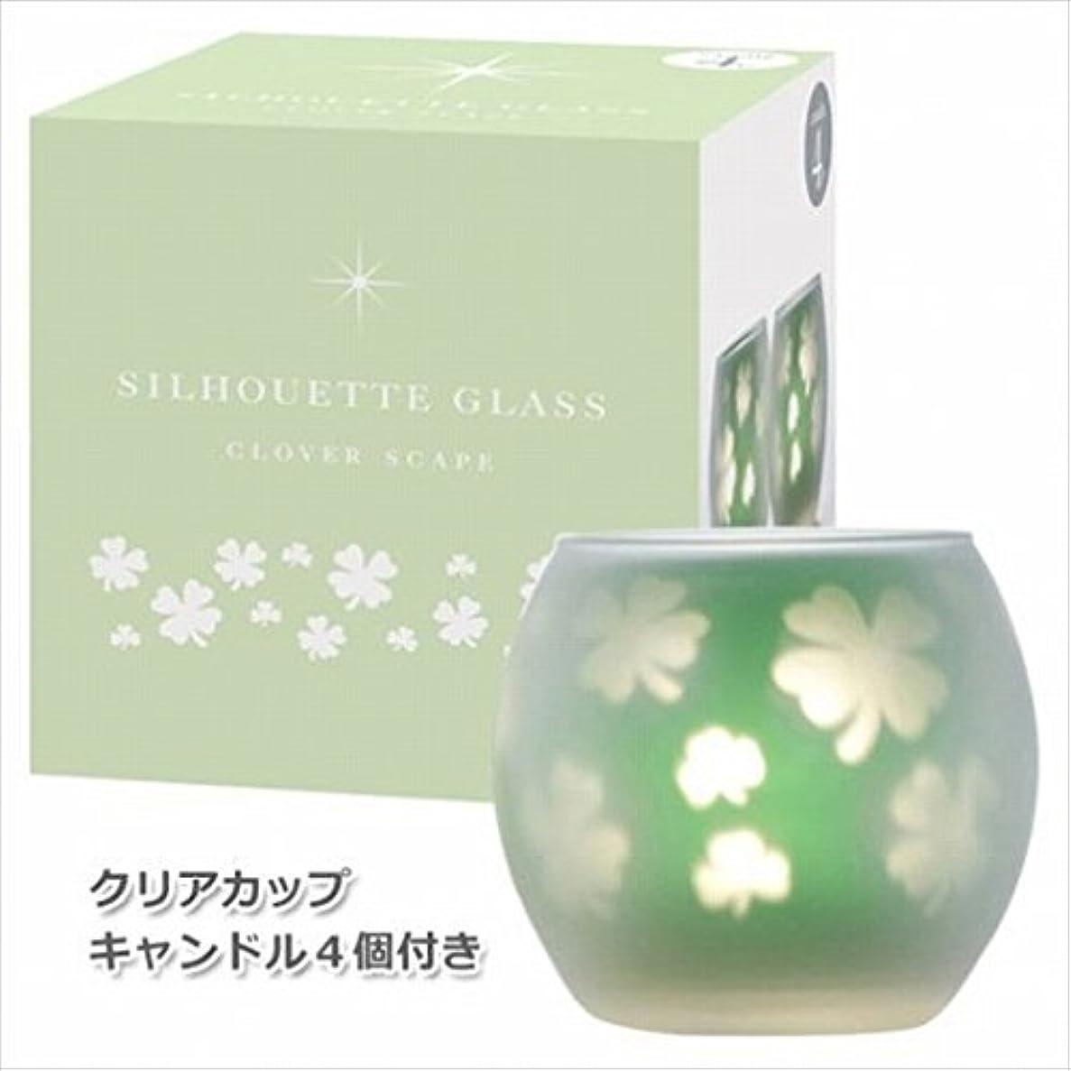 硬い水銀の避けるカメヤマキャンドル(kameyama candle) クローバースケープ2【キャンドル4個付き】 シルエットグラス