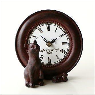 置時計 アンティーク風 インテリア 卓上 置き時計 猫 キャット&マウスクロック [sik1277]