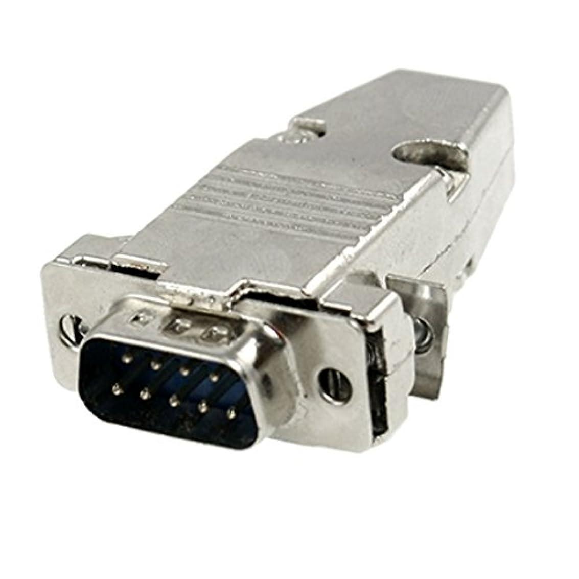 一節アスリートシリーズuxcell DB9 RS232シリアルコネクタシェル 9ピン プラグコネクタシェル メタルカバー