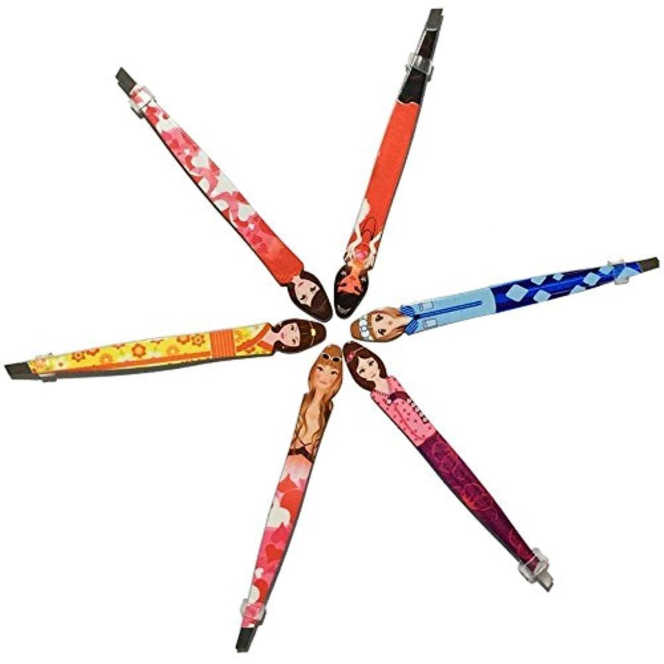 表現バケット番号Pinkiou <特別なピンセット>古典的のデザイン 毛抜き 眉毛ピンセット ステンレス製 ツイーザー 化粧ツール 6セット 使いやすい 眉毛