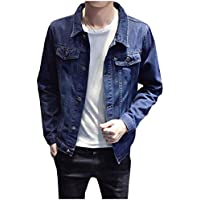 RkBaoye Men's Lapel Single-Breasted Regular-Fit Plus-Size Denim Jacket