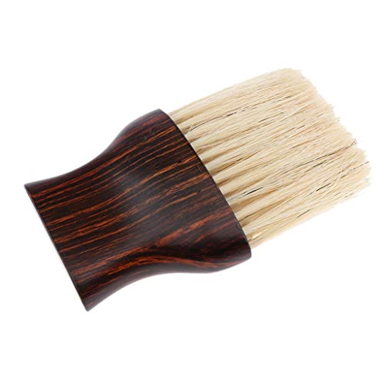 降ろすする必要がある利益Injoyo ヘアカットブラシネックダスタークリーニングヘアブラシ理容室快適な繊維の髪、木製ハンドル付き理髪ツール
