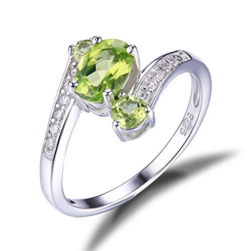 JewelryPalace 1.05ct 天然石 3石 婚約 誕生石 8月 ペリドット 指輪 スターリング シルバー 925 リング レディース 人気 サイズ 11