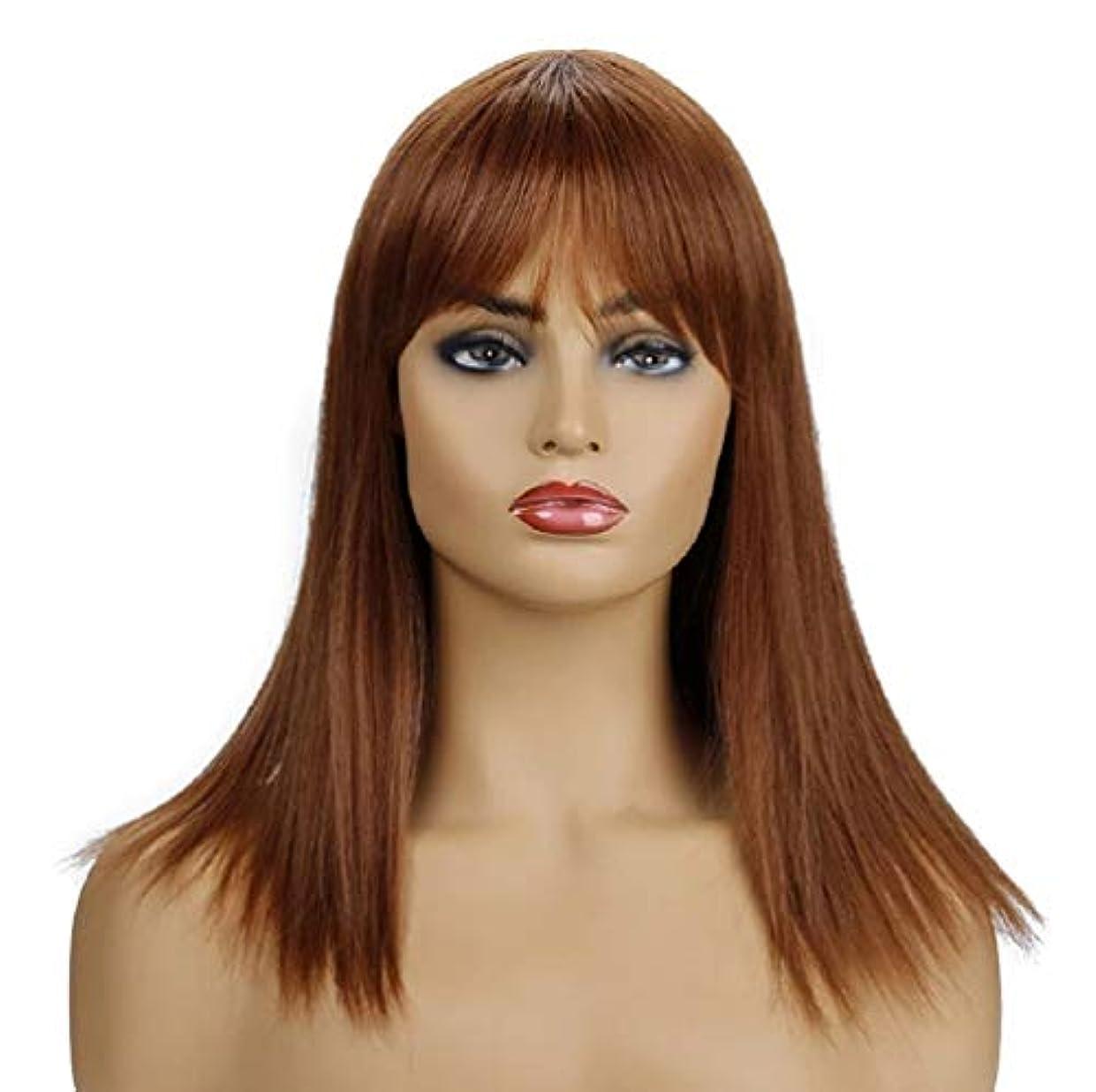 父方のテンション上級女性のかつらブラジル合成耐熱繊維毛自然探しフル150%密度ブラウン42 cm