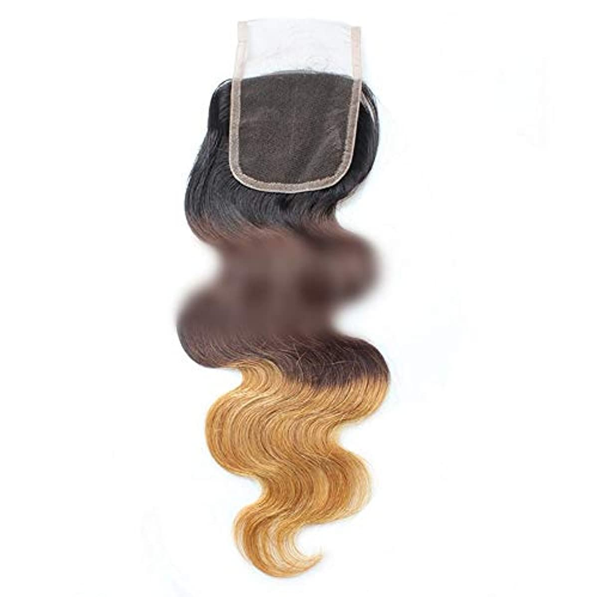属性歌規制するWASAIO ヘアエクステンションブラジルバンドルボディウェーブ4X4レースフロンタル閉鎖ヒトブラックブラウン3トーンのカラーリングを金髪にします (色 : ブラウン, サイズ : 16 inch)