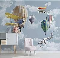 Lcymt 北欧のミニマリスト手描き漫画航空機バルーン子供部屋背景壁壁紙壁画-120X100Cm