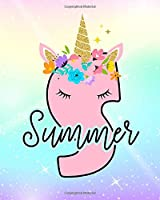 Summer: Girls Unicorn Journal to Write In | Personalized Journal
