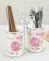 【ノーブランド品】 おしゃれ ピンクの 薔薇 デザイン 陶器製 箸立て 2個 一体型 (Aタイプ)
