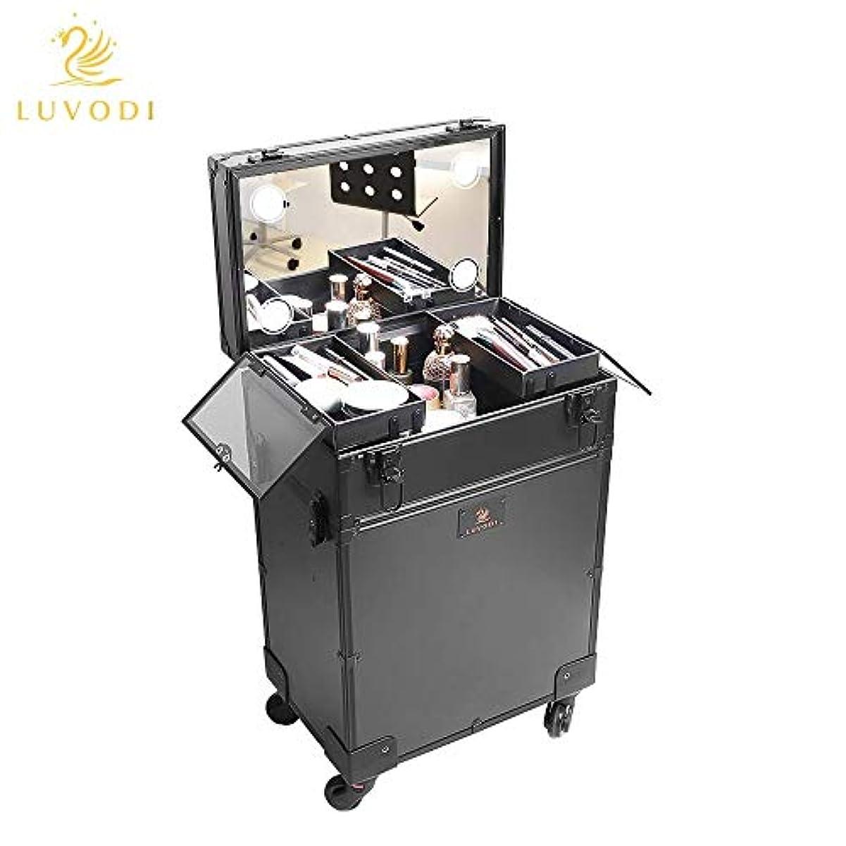 ペンフレンドウェイド教LUVODI メイクボックス 鏡付き 大容量 プロ用 メイクキャリーケース ミニドレッサー付き 鍵付き 持ち運び 美容師 業務 旅行 コスメ収納ボックス 化粧箱 ブラック