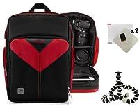 Sparta旅行ナイロンバックパックバッグ(レッド/ブラック) for Nikon d8、d80、d90、d900d9、d800、d800e、DSLRカメラ+スクリーンプロテクター+ミニ三脚