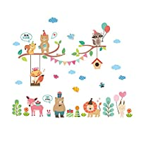 ウォールステッカー 子供たちの子供の保育園ベビールームの壁のステッカーのステッカー花の野生動物のジャングル ベッドルーム保育園の家の装飾