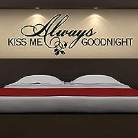 Xbwy いつも私に接吻おやすみなさい甘いとロマンチックなことわざ装飾的なウォールステッカー寝室Pvc取り外し可能なレタリング壁紙59×20センチ