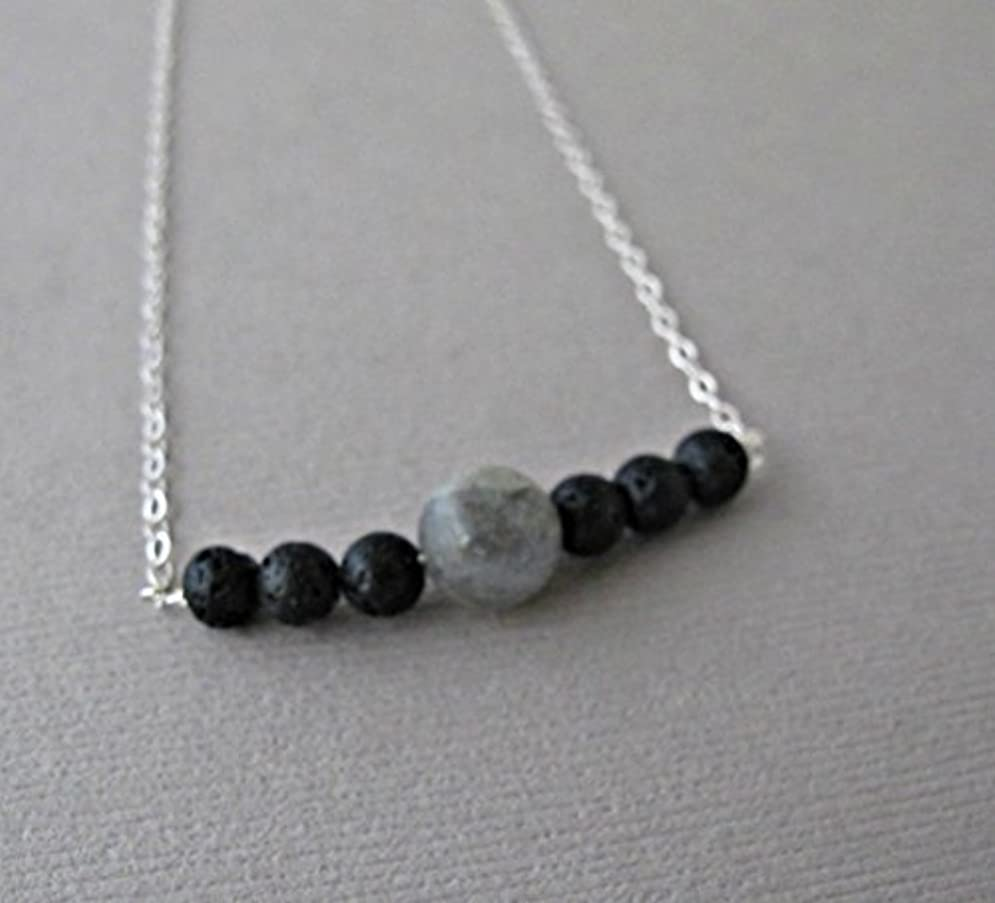 不均一再集計絶対のLabradorite Lava Pendant Essential Oil Necklace Diffuser Aromatherapy - Simple Minimalist Lava Bead Diffuser Necklace...