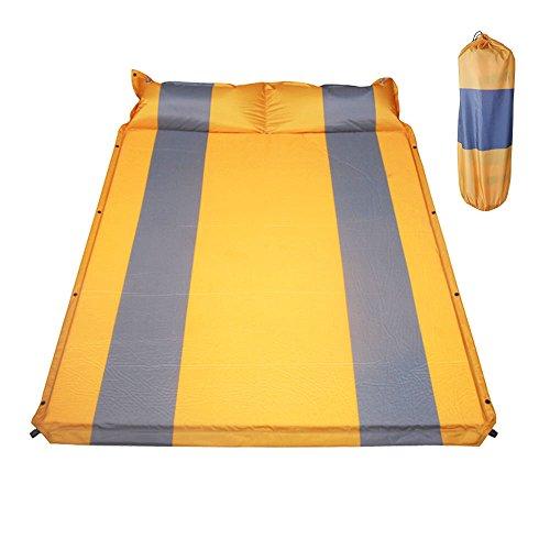ダブルキャンピングマット エアーマット キャンプマット エアマット オレンジxグレー 全3色 インフレータブル式 厚さ2.5cm 連結可能 収納袋付き [並行輸入品]