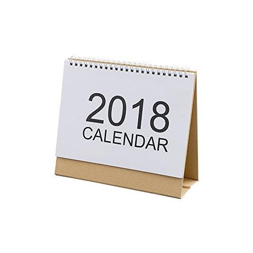 2018年 カレンダー  シンプル ホワイト 卓上 丈夫 実用性抜群 (25.5*20.5CM)