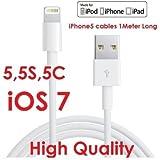 YellowKnife yk67MFI certified-ios 7クラシック8ピンLightning ( 3.3Ft )カラフルUSBケーブルは充電と同期for iPhone 55s 5C , iPad ( Air /第4世代、iPad mini、iPod (第7世代、iPod touch (第5世代) iPod Nano (第7世代) with Zeiss Zeiss pre-moistenedレンズCloths (クラシックホワイト3.3Ft )