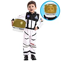 Astronaut NASA Pilot Costume with Movable Visor Helmet for Kids, Boys, Girls, Toddlers Space Pretend Role Play Dress Up, School Classroom Stage Performance, Halloween Party Favor