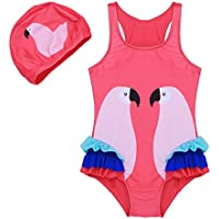 FEESHOW Baby Toddler Girls One Piece Swimsuit Swimwear Beach Bathing Suit With Swimming Cap For 2Year-8Years Kids