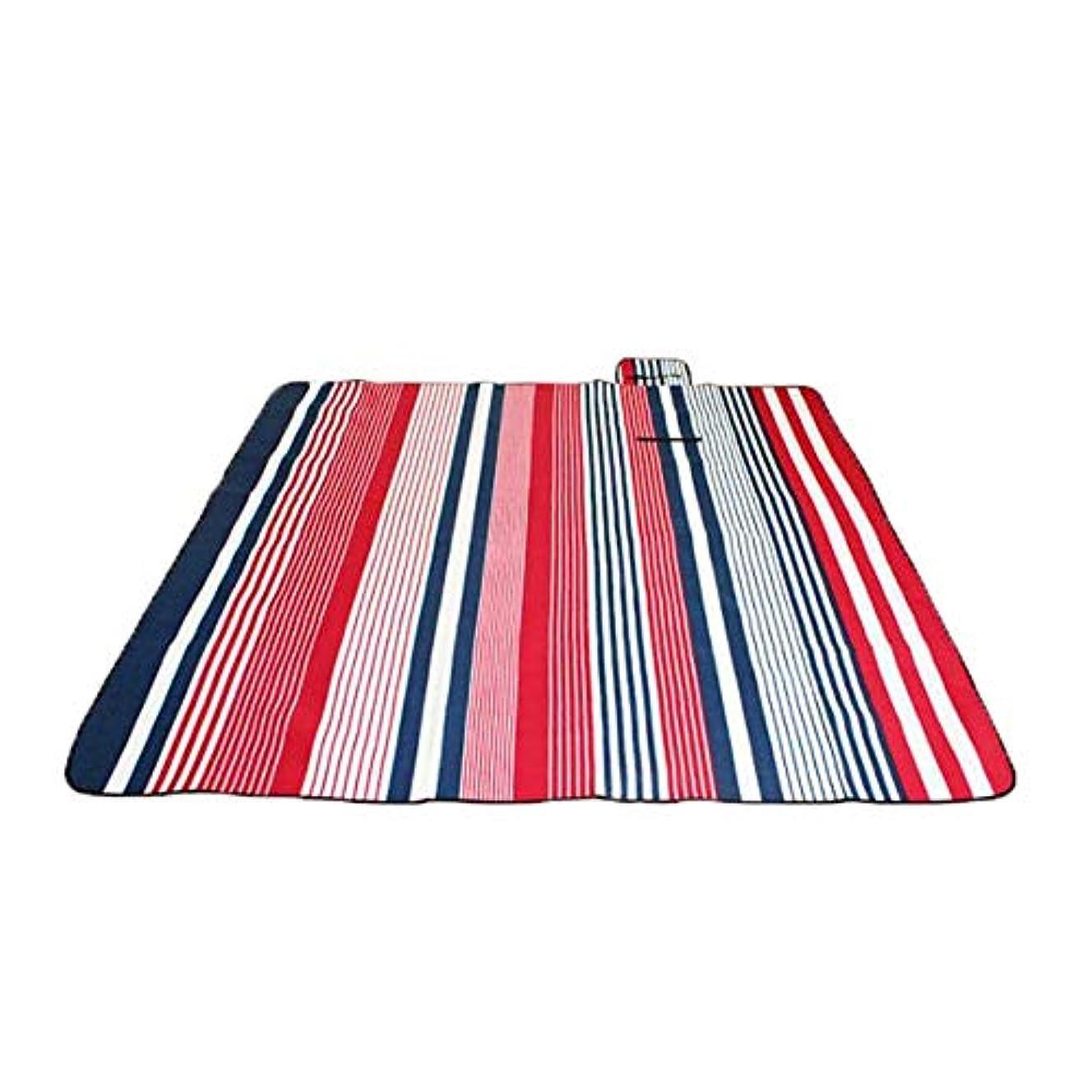 ブランド止まる議題ストライププリント特大防水ピクニック毛布サンドプルーフ毛布マット屋外ピクニックマットパッド入りキャンプグラウンドグラスブランケット200 x 200 CM (色 : 赤, サイズ : 200 x 200 cm)