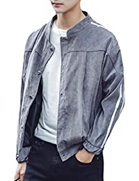 maweisong メンズカジュアル長袖ボタンダウンカラースエードジャケット