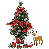 Sutekusテーブルトップミニクリスマスツリー40㎝クリスマスボールちょう結びクリスマステーブル装飾装飾 (トナカイ付き) (レッド)