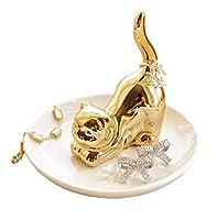 Eastyle ジュエリー収納 指輪ホルダー 収納 小物入れ アクセサリートレイ 可愛い 動物 おしゃれ インテリア 置物 イヤリング ピアス ネックレス ブレスレット 指輪 腕時計 ホルダー トレイ型 かわいい 樹脂 (猫 金)