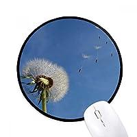 青空の美しい白いタンポポ ラウンド・ノンスリップ・マウスパッド・ブラックtitched端ゲームオフィス贈り物