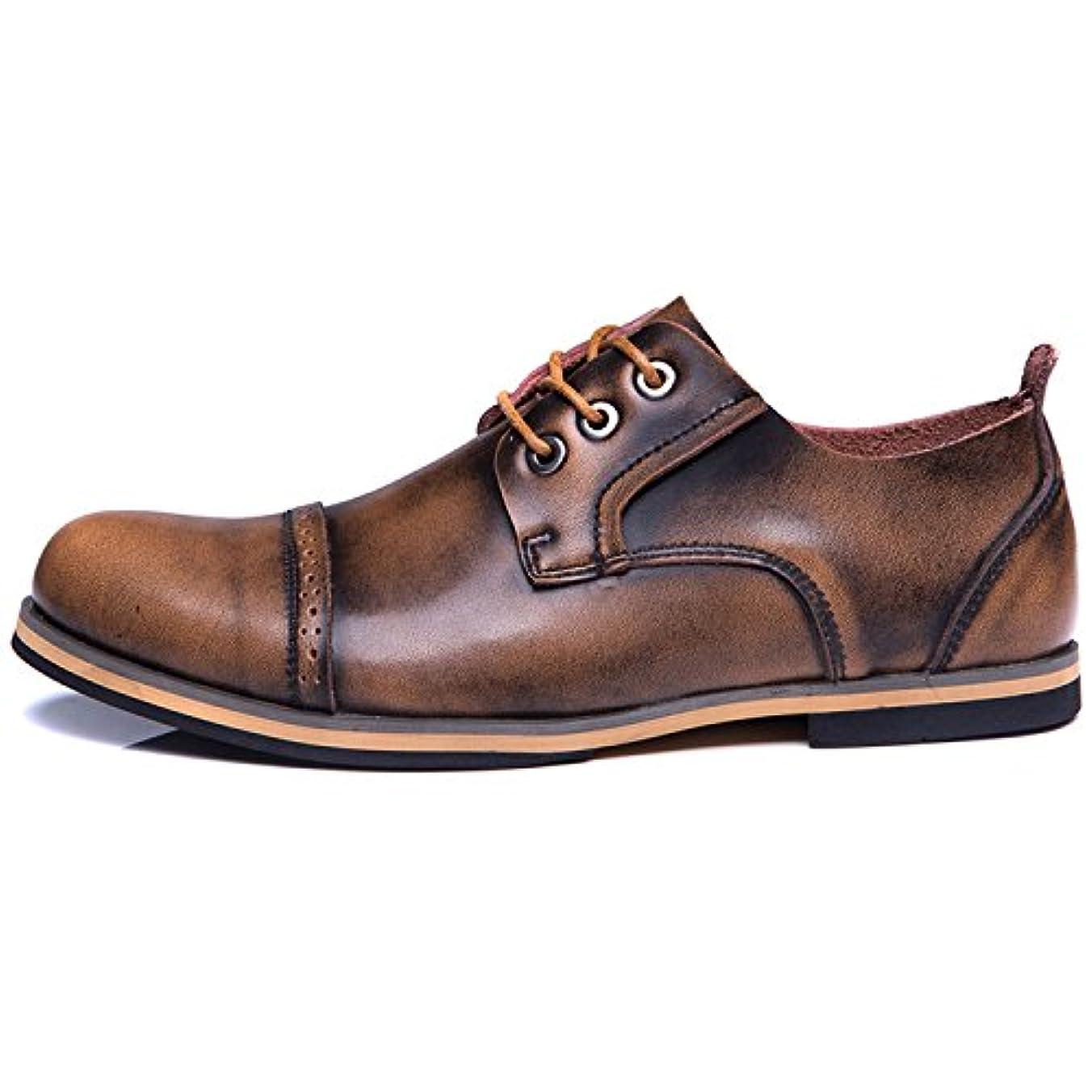 ラビリンス延期するひまわりつるかめ(Turukame) ビジネスシューズ メンズ レースアップ 革靴 紳士靴 履きやすい 通気性 ストレートチップ