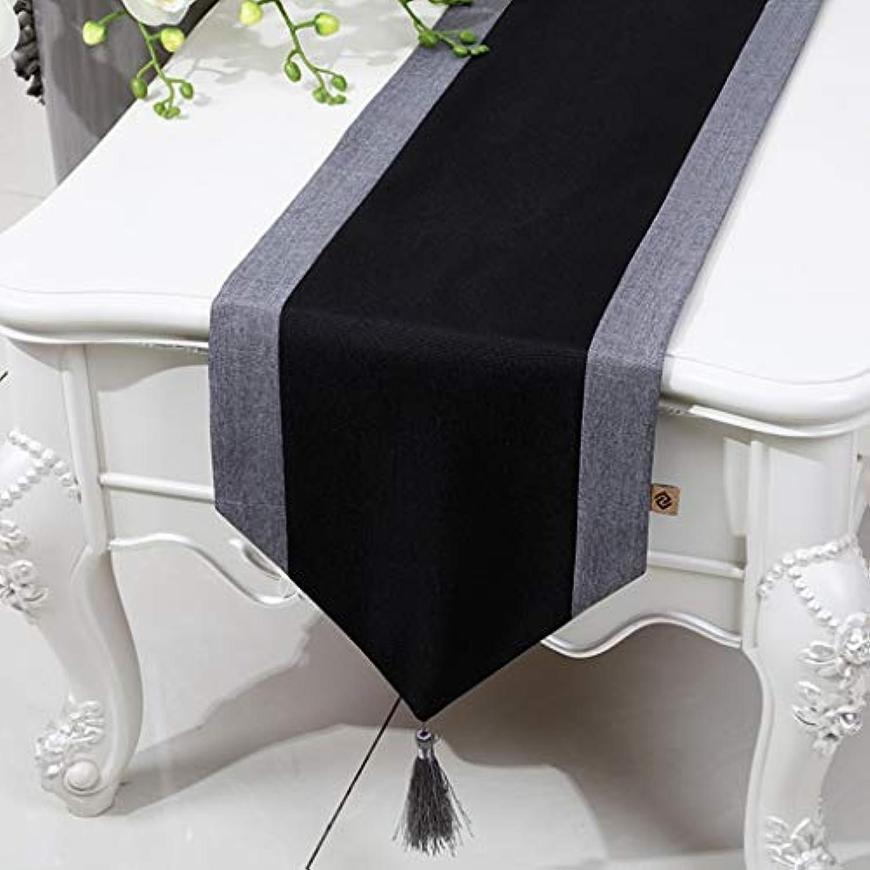 テーブルランナー ホームデコレーション 北欧 工芸品 おしゃれ 結婚式 パーティー エレガント モダン シンプル (Color : Black, Size : 33*230cm)