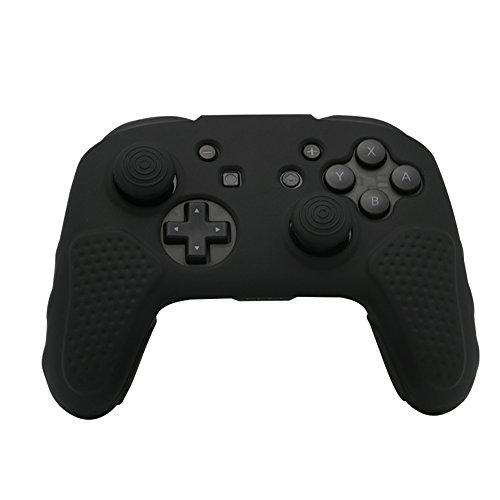 CHINFAI Nintendo Switch Pro コントローラー カバー ニンテンドー スイッチ プロコン ケース 任天堂 シリコン 保護 ケース1+SWプロアナログスティックキャップ×8 ( 黒 )