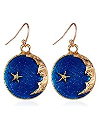 Cute Blue Sky Moon Crescent Star Hook Drop Dangle Earrings for Women Girl
