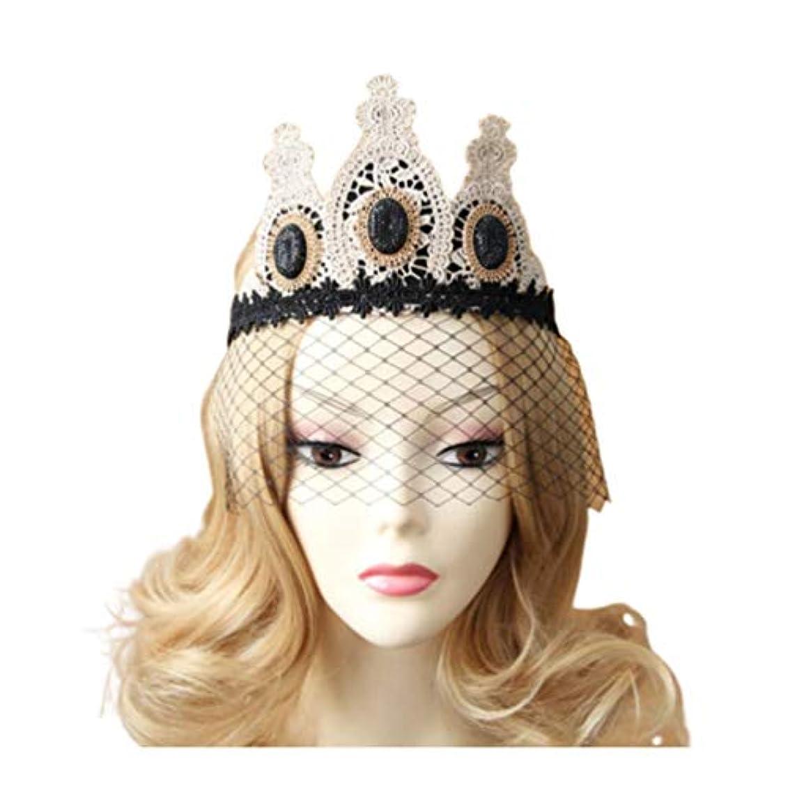 地上で一貫した情報Lurrose レースクラウンヴィンテージゴシックメッシュベールヘッドバンドレースベール帽子ハロウィンヘア装飾用女性女性