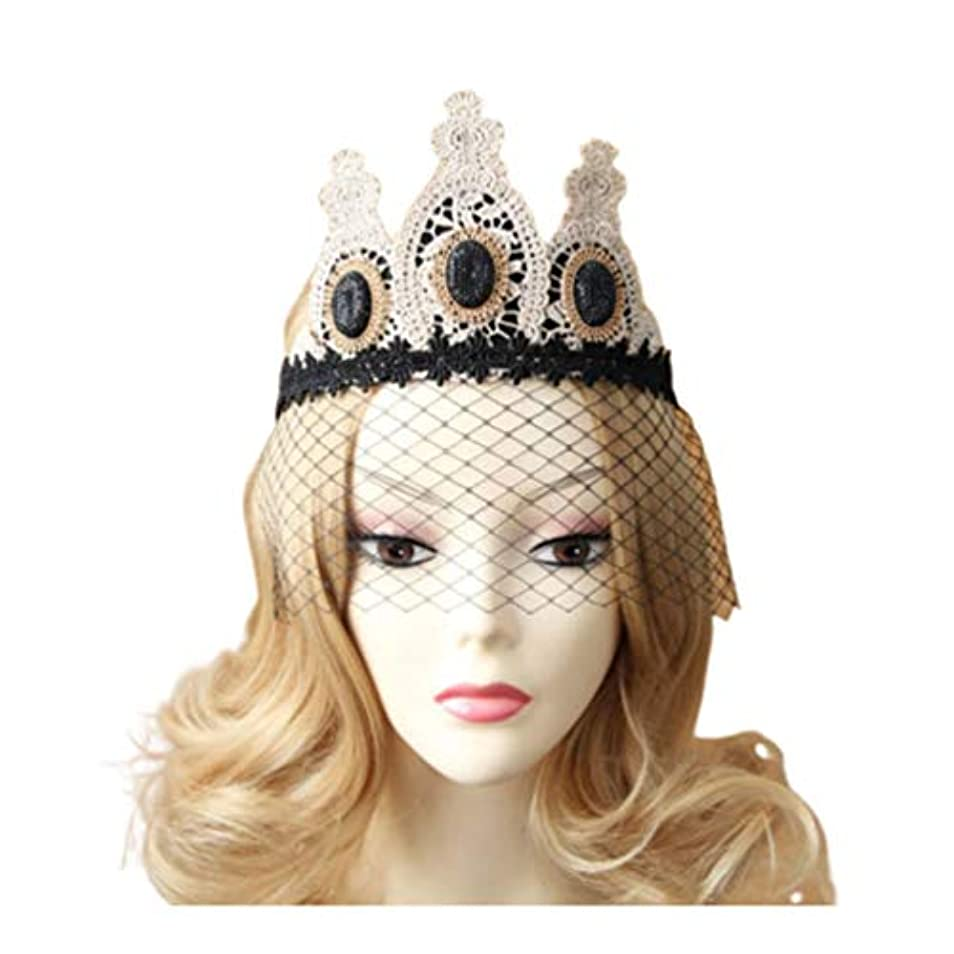 Lurrose レースクラウンヴィンテージゴシックメッシュベールヘッドバンドレースベール帽子ハロウィンヘア装飾用女性女性