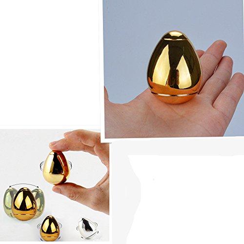 改良版 ジュラルミン製 卵 ハンドスピナー 指先ジャイロ 指スピナー 指先ジャイロ(Hand Spinner Fidget Spinner) ADD、ADHD、自閉症、集中力を向上し、ストレスを解消する場合などに最適 ハンドスピナー 独楽 おもちゃ 3-5分 プレゼント 成人用 /子供用(金色+銀色) (卵のハンドスピナー, 金色)