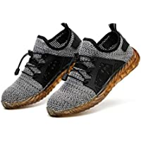 ZOZOE Unisex Steel Toe Cap Safety Ultra Lightweight Breathable Work Trainer Shoes Sport Sneaker Safety Shoes Puncture Proof Labor Insurance Sneakers Men Women