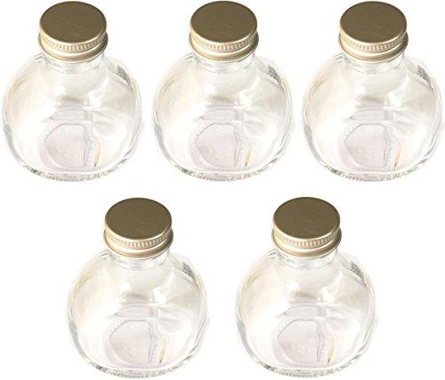 ハーバリウム ガラス瓶 丸型 2wayラウンドボトル 117ml 5本セット【Clip wan】