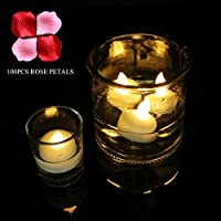 Micandle 24 Pack Waterproof Flameless Floating Tealights with 100pcs Decor Rose Petals, Warm White Battery Flickering LED Tea Lights Candles - Wedding, Party, Centerpiece, Pool & SPA 141[並行輸入]