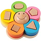 Wooden Puzzle PlayMaty Baby Kids Learning Toy Wooden Montessori Teaching Aid Flower Shape Column Toy