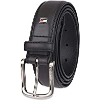 Tommy Hilfiger Men's Leather Stitch Belt with Engraved Logo Belt