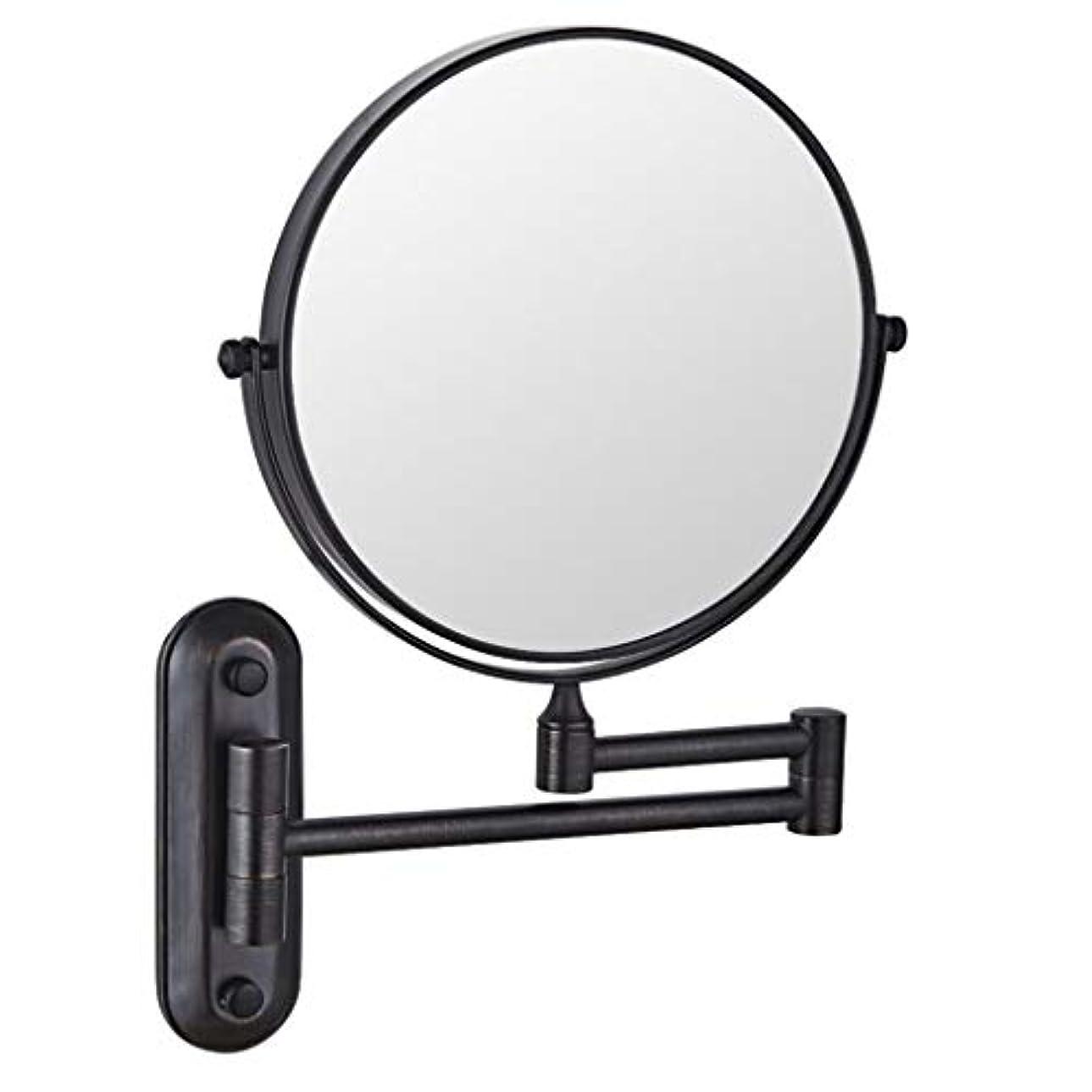 消費する腕海賊HUYYA シェービングミラー バスルームメイクアップミラー 壁付、バニティミラー 6インチ両面 化粧鏡 360度回転 丸め 寝室や浴室に適しています,Black_3x