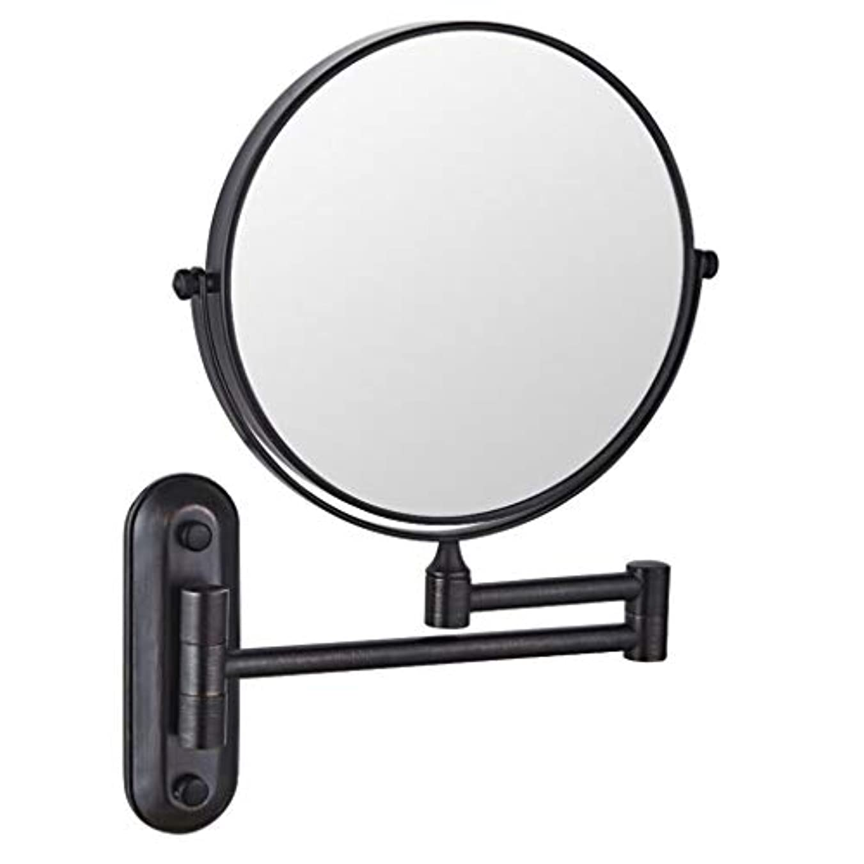 ぼろバッグ離すHUYYA シェービングミラー バスルームメイクアップミラー 壁付、バニティミラー 6インチ両面 化粧鏡 360度回転 丸め 寝室や浴室に適しています,Black_3x
