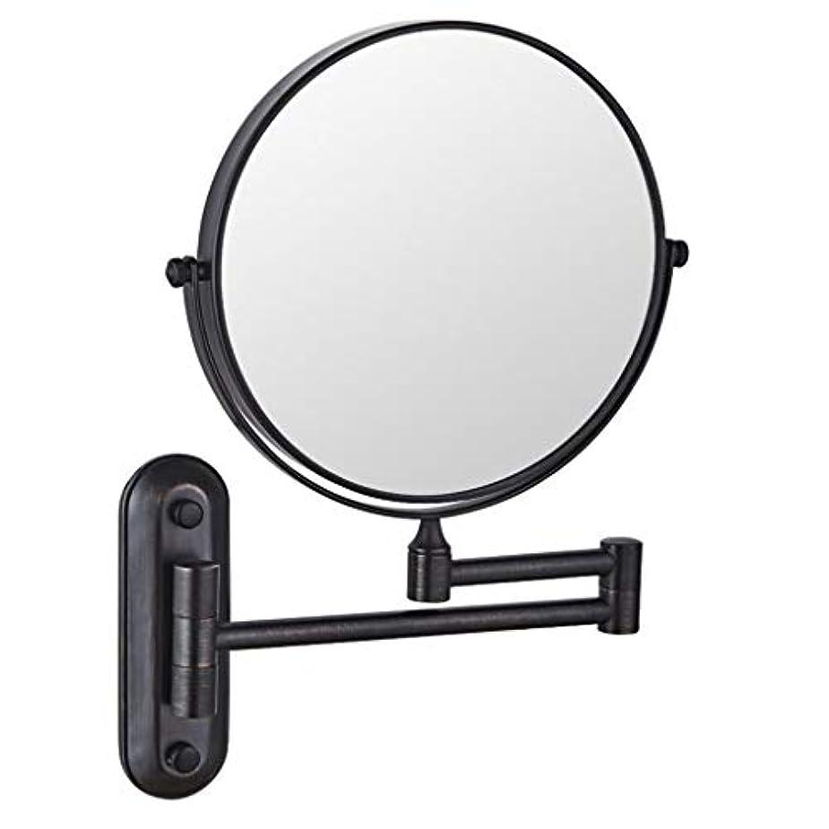 明らかタヒチ武装解除HUYYA シェービングミラー バスルームメイクアップミラー 壁付、バニティミラー 6インチ両面 化粧鏡 360度回転 丸め 寝室や浴室に適しています,Black_3x