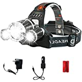 LED Headlamp, XM-L T6 High Lumen Waterproof 3 Led 4 Modes Headlight Rechargeable Flashlight for Camping Riding Fishing Car Repair Hunting Outdoor Light DIY Works