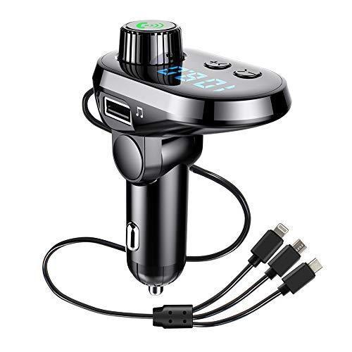 FMトランスミッター Bluetooth5.0高音質ワイヤレス式 ハンズフリー通話 2つusb充電ポート急速充電 ノイズ軽減機能 android iphone兼用充電ケーブル付き 12~24V車対応 【日本語説明書&メーカー1年保証】