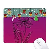黒い線のハスの花の植物の花 ゲーム用スライドゴムのマウスパッドクリスマス